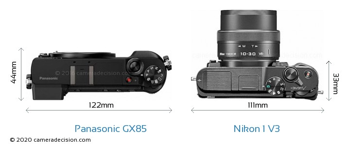 Panasonic GX85 vs Nikon 1 V3 Camera Size Comparison - Top View