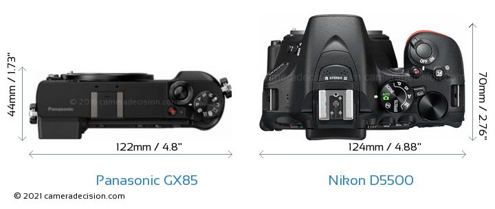 Panasonic GX85 vs Nikon D5500 Camera Size Comparison - Top View
