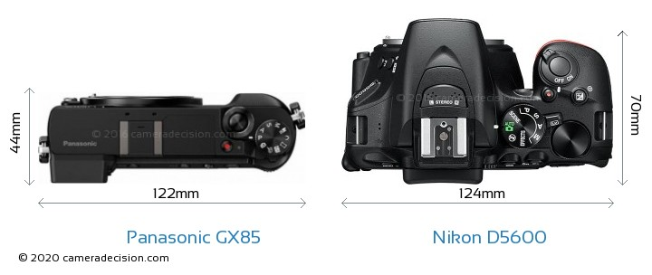 Panasonic GX85 vs Nikon D5600 Camera Size Comparison - Top View