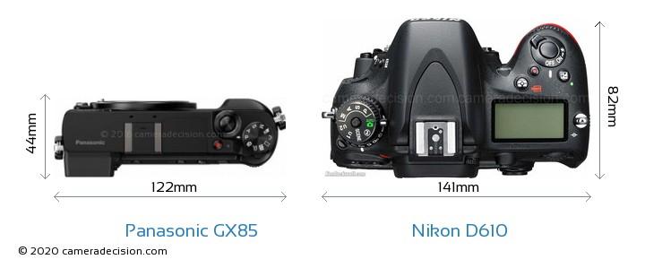Panasonic GX85 vs Nikon D610 Camera Size Comparison - Top View