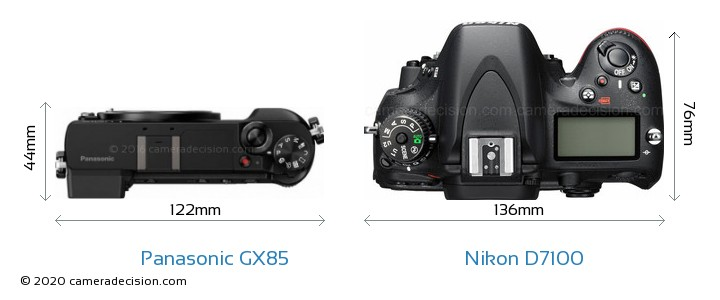 Panasonic GX85 vs Nikon D7100 Camera Size Comparison - Top View