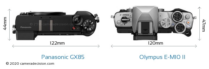 Panasonic GX85 vs Olympus E-M10 II Camera Size Comparison - Top View