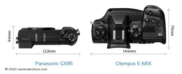 Panasonic GX85 vs Olympus E-M1X Camera Size Comparison - Top View