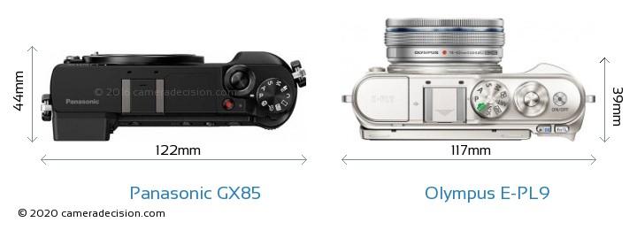 Panasonic GX85 vs Olympus E-PL9 Camera Size Comparison - Top View