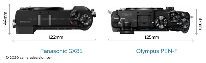 Panasonic GX85 vs Olympus PEN-F Camera Size Comparison - Top View