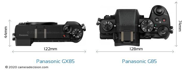 Panasonic GX85 vs Panasonic G85 Camera Size Comparison - Top View