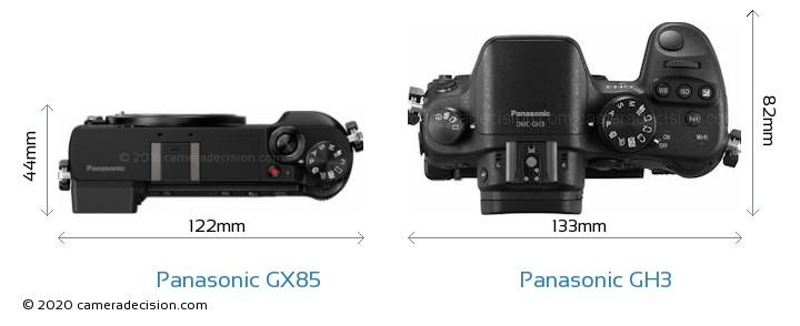 Panasonic GX85 vs Panasonic GH3 Camera Size Comparison - Top View