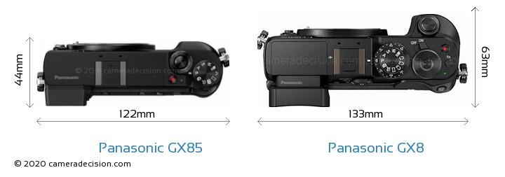 Panasonic GX85 vs Panasonic GX8 Camera Size Comparison - Top View