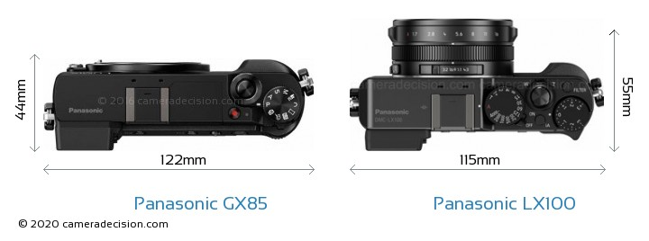 Panasonic GX85 vs Panasonic LX100 Camera Size Comparison - Top View