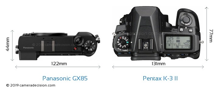 Panasonic GX85 vs Pentax K-3 II Camera Size Comparison - Top View