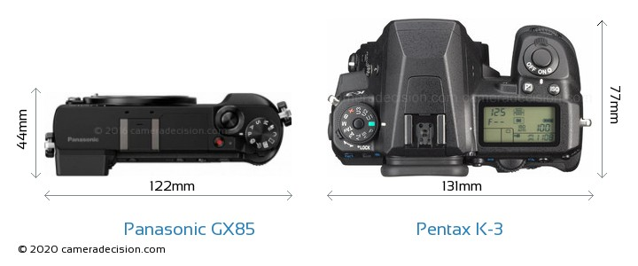 Panasonic GX85 vs Pentax K-3 Camera Size Comparison - Top View
