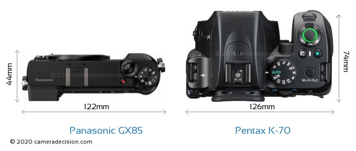 Panasonic GX85 vs Pentax K-70 Camera Size Comparison - Top View