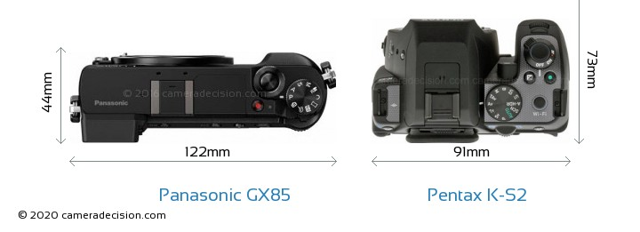 Panasonic GX85 vs Pentax K-S2 Camera Size Comparison - Top View