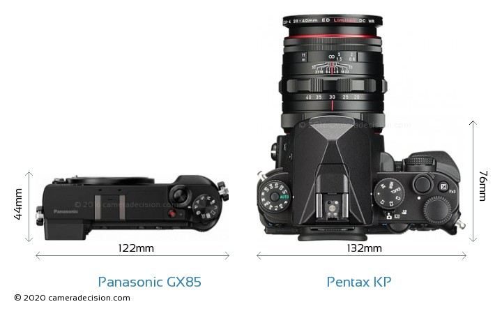 Panasonic GX85 vs Pentax KP Camera Size Comparison - Top View