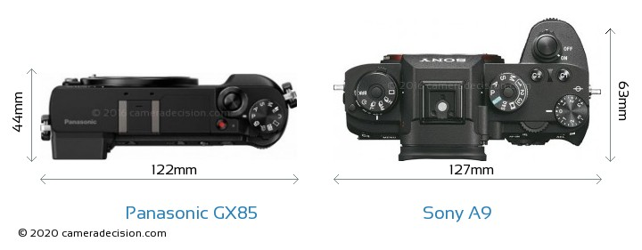 Panasonic GX85 vs Sony A9 Camera Size Comparison - Top View