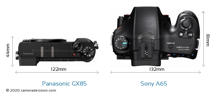 Panasonic GX85 vs Sony A65 Camera Size Comparison - Top View