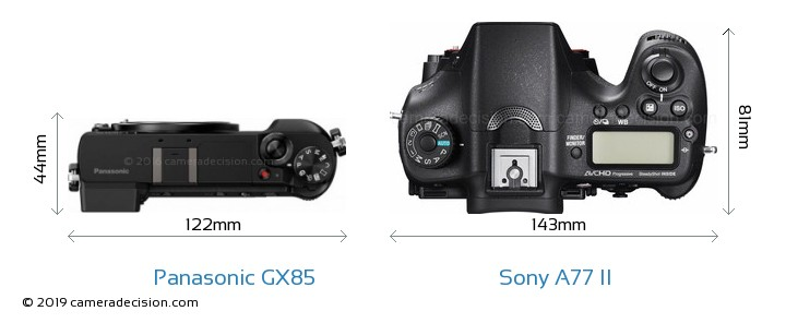 Panasonic GX85 vs Sony A77 II Camera Size Comparison - Top View