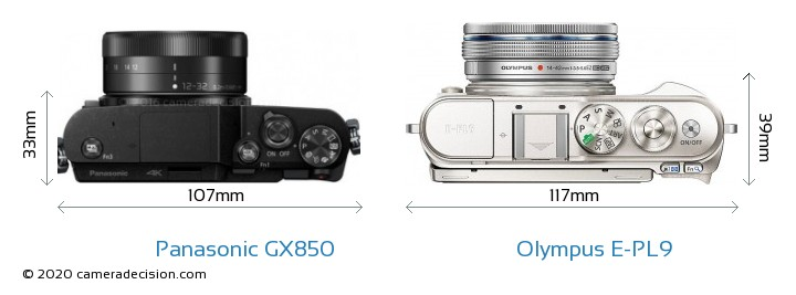 Panasonic GX850 vs Olympus E-PL9 Camera Size Comparison - Top View