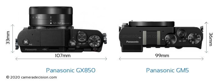 Panasonic GX850 vs Panasonic GM5 Camera Size Comparison - Top View