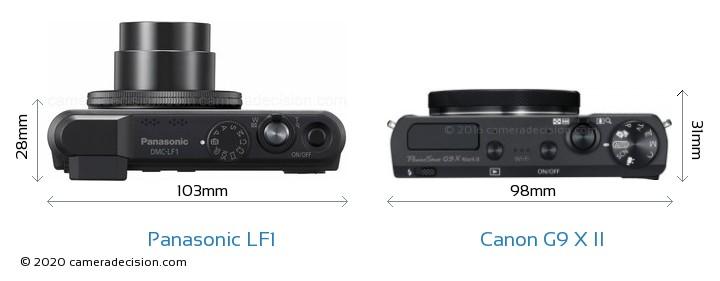 Panasonic LF1 vs Canon G9 X II Camera Size Comparison - Top View