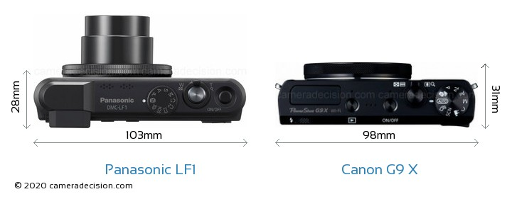 Panasonic LF1 vs Canon G9 X Camera Size Comparison - Top View