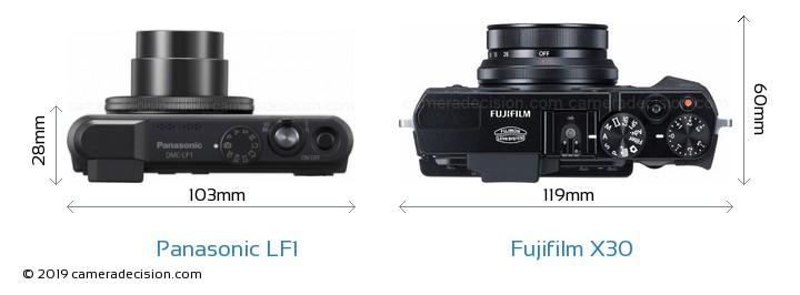 Panasonic LF1 vs Fujifilm X30 Camera Size Comparison - Top View