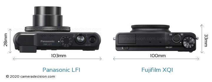 Panasonic LF1 vs Fujifilm XQ1 Camera Size Comparison - Top View