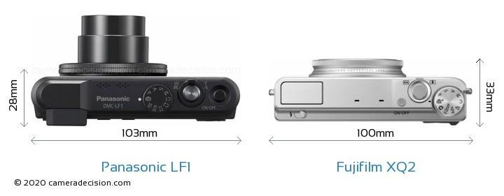 Panasonic LF1 vs Fujifilm XQ2 Camera Size Comparison - Top View
