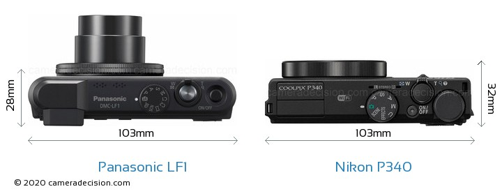 Panasonic LF1 vs Nikon P340 Camera Size Comparison - Top View