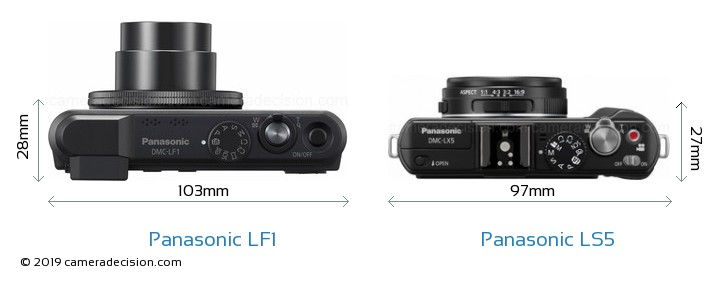 Panasonic LF1 vs Panasonic LS5 Camera Size Comparison - Top View