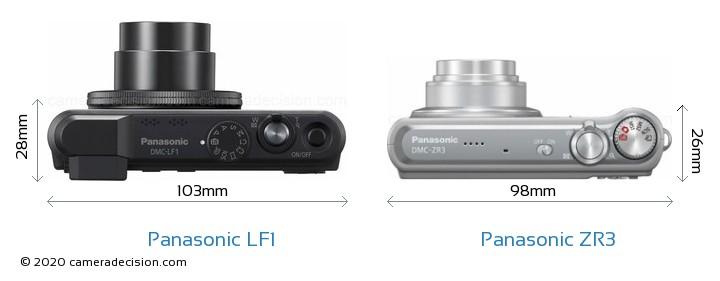 Panasonic LF1 vs Panasonic ZR3 Camera Size Comparison - Top View