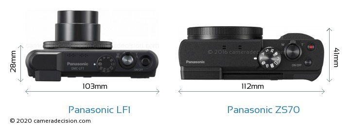 Panasonic LF1 vs Panasonic ZS70 Camera Size Comparison - Top View