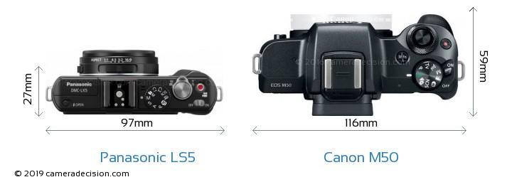 Panasonic LS5 vs Canon M50 Camera Size Comparison - Top View