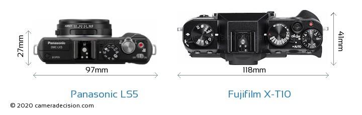 Panasonic LS5 vs Fujifilm X-T10 Camera Size Comparison - Top View