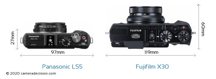 Panasonic LS5 vs Fujifilm X30 Camera Size Comparison - Top View