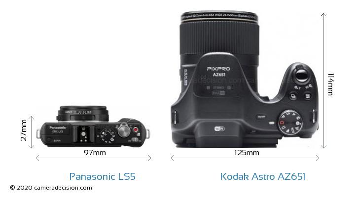 Panasonic LS5 vs Kodak Astro Zoom AZ651 Camera Size Comparison - Top View