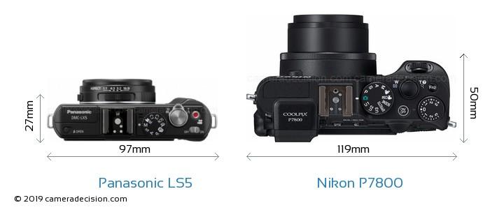 Panasonic LS5 vs Nikon P7800 Camera Size Comparison - Top View
