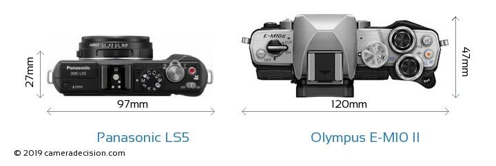 Panasonic LS5 vs Olympus E-M10 II Camera Size Comparison - Top View