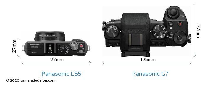 Panasonic LS5 vs Panasonic G7 Camera Size Comparison - Top View