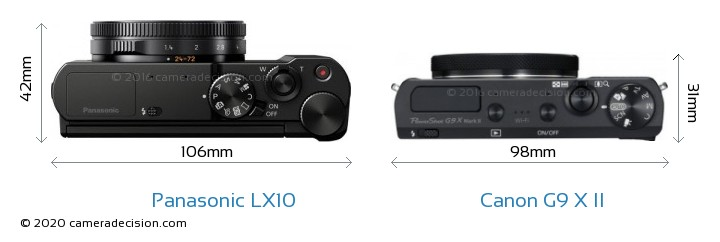 Panasonic LX10 vs Canon G9 X II Camera Size Comparison - Top View