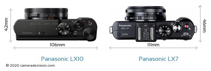 Panasonic LX10 vs Panasonic LX7 Camera Size Comparison - Top View