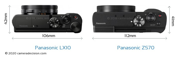 Panasonic LX10 vs Panasonic ZS70 Camera Size Comparison - Top View