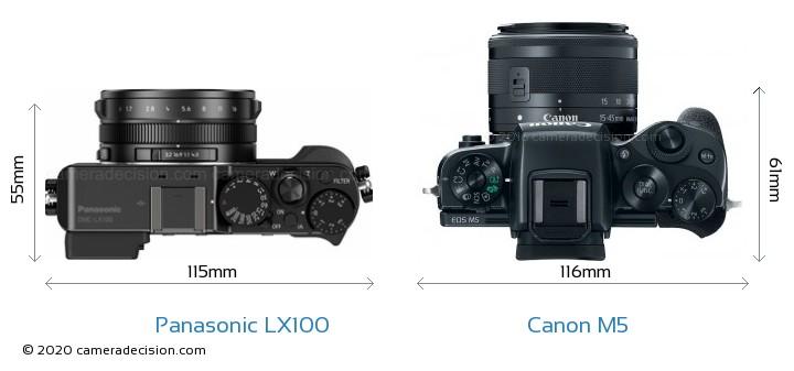 Panasonic LX100 vs Canon M5 Camera Size Comparison - Top View
