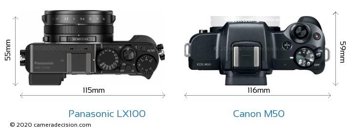 Panasonic LX100 vs Canon M50 Camera Size Comparison - Top View