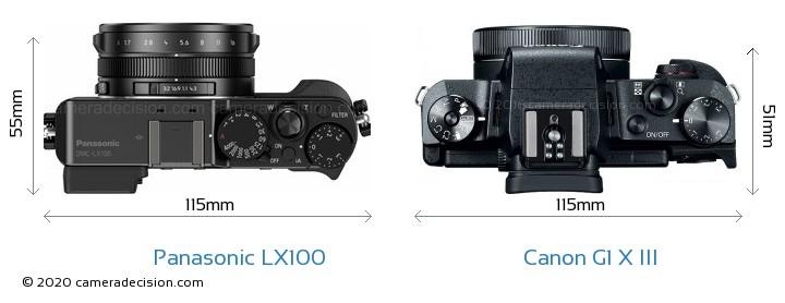 Panasonic LX100 vs Canon G1 X III Camera Size Comparison - Top View