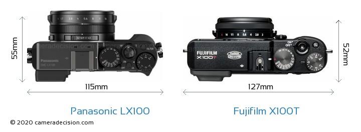 Panasonic LX100 vs Fujifilm X100T Camera Size Comparison - Top View
