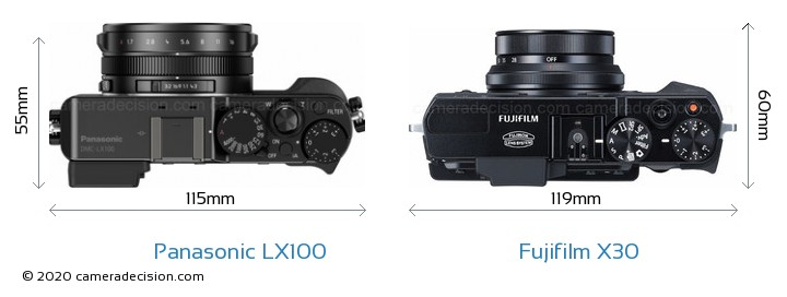 Panasonic LX100 vs Fujifilm X30 Camera Size Comparison - Top View