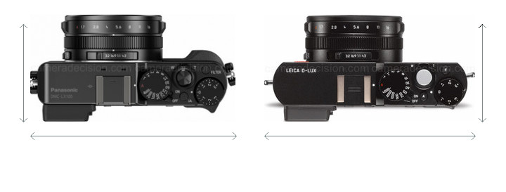 Panasonic LX100 vs Leica D-Lux Typ 109 Camera Size Comparison - Top View