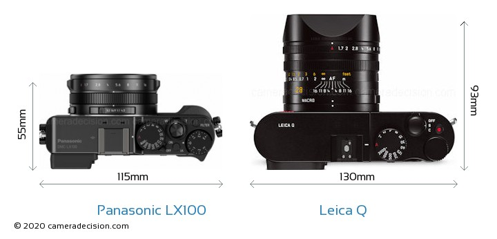 Panasonic LX100 vs Leica Q Camera Size Comparison - Top View