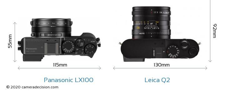 Panasonic LX100 vs Leica Q2 Camera Size Comparison - Top View